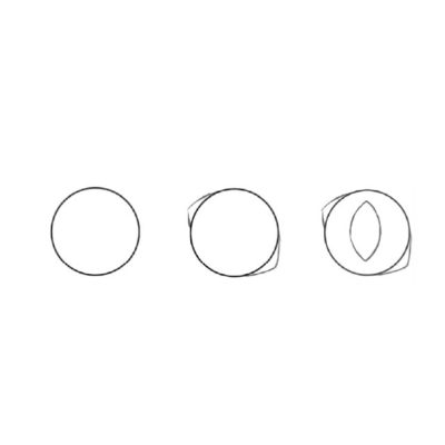 So malst du ein rundes Auge: Zunächst zeichnest du wieder einen Kreis. Skizziere beidseitig zwei kleine, abgerundete Dreiecke, die du mit einer imaginären Linie mitten durch das Auge verbinden könntest. Wichtig ist dabei auch, die Dreiecke nicht genau links und rechts des Kreises anzusetzen, sondern etwas schräg. Katzenaugen stehen ja eher schräg als gerade. Nun zeichnest du die Pupille in die Kreismitte. Sie kann verschiedene Formen haben, wie du später in dieser Übung sehen wirst.