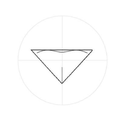 Ziehe einen kurzen, geraden Strich von der unteren Ecke des Dreiecks bis etwas unterhalb der Mitte. Unterhalb der oberen Linie zeichnest du zwei flache, miteinander verbundene Bögen. Sie sehen so aus wie die Oberlippe eines Zweibeiners und bilden den oberen Teil der Nase.
