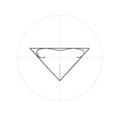 Zeichne danach einen flachen Halbkreis in jede Ecke innerhalb des Dreiecks.