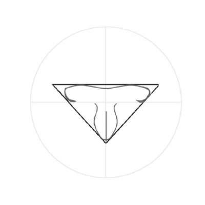 Jetzt zum unteren Teil der Nase, zu dem Strich, den du in der Mitte des Winkels schon gezogen hast. Zeichne zu beiden Seiten des Strichs ein lang gezogenes S, sodass eine Tulpen- oder Kelchform entsteht.