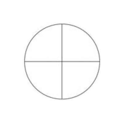 Zuerst zeichnest du einen Kreis und unterteilst ihn in vier gleiche Teile. Das ist der Kopf.