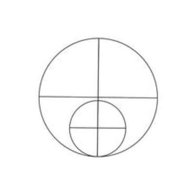 Zeichne einen kleineren Kreis unter dem großen und teile auch diesen in vier gleich große Flächen auf. Die Mittellinie des kleineren Kreises überschneidet sich dabei mit der des großen. In den kleineren Kreis zeichnest du Nase und Mund.