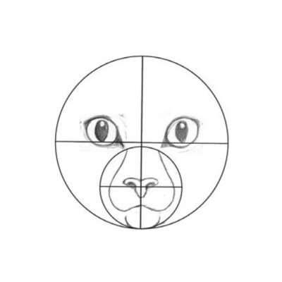 Jetzt zu den Augen. Das untere Lid sollte etwas unterhalb der Mittellinie des großen Kreises liegen. Achte darauf, dass sie ein bisschen schräg stehen. Die Augenwinkel dürfen die Nase nicht berühren und sitzen auf Höhe des oberen Nasenrückens.